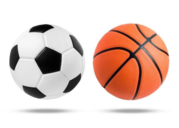 Pallone da calcio e palla da basket