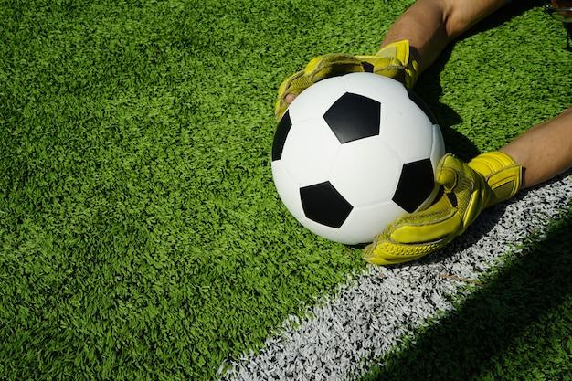 Pallone da calcio in porta