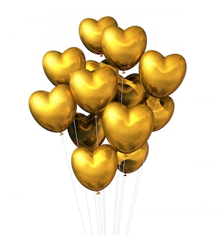 Palloni a forma di cuore dell'oro isolati su bianco
