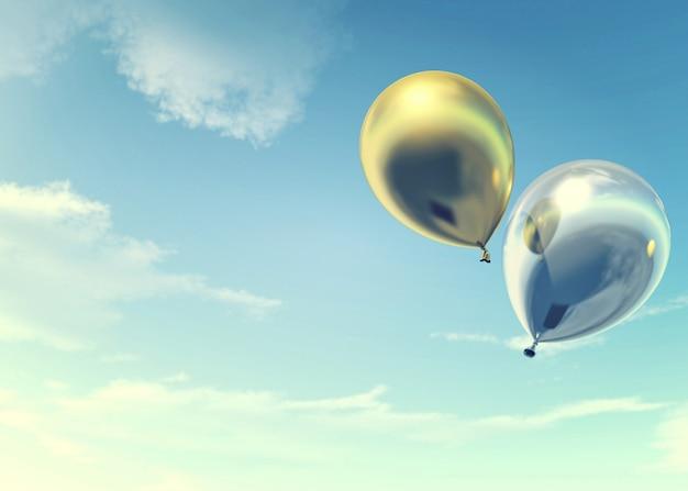 Palloni dorati e d'argento variopinti che galleggiano nelle vacanze estive, concetto delle feste e allegro, rappresentazione 3d
