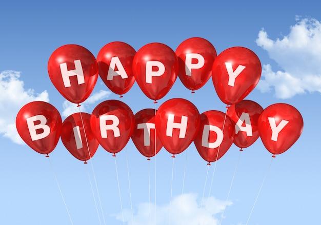 Palloni rossi di buon compleanno 3d nel cielo