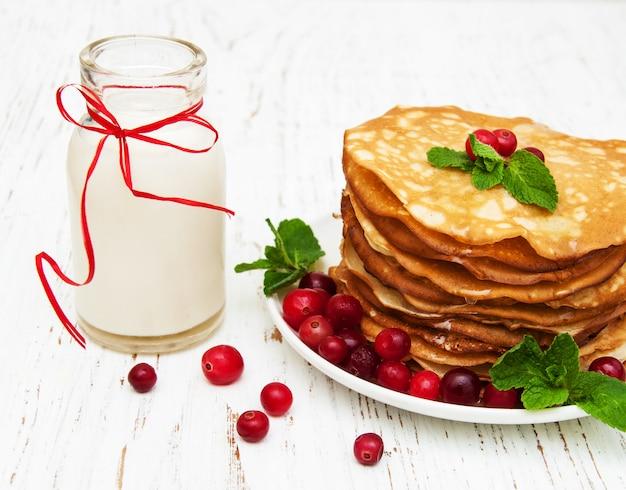 Pancakes con mirtilli rossi