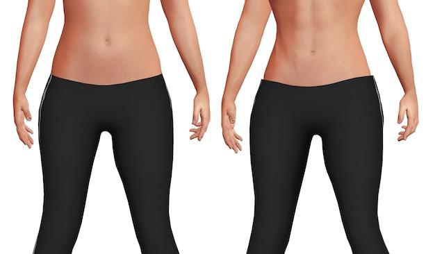Pancia femminile prima dopo il processo di perdita di peso con perdita di grasso corporeo