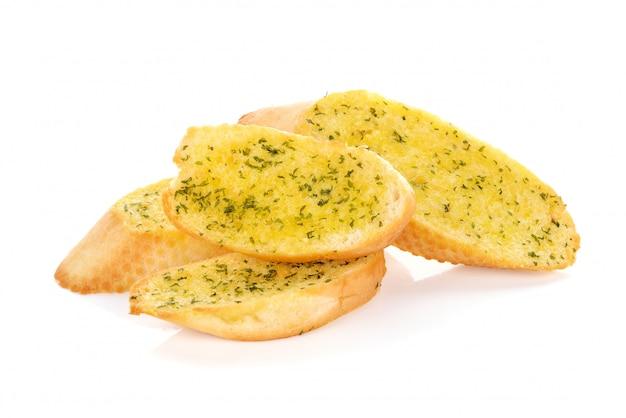 Pani all'aglio su sfondo bianco
