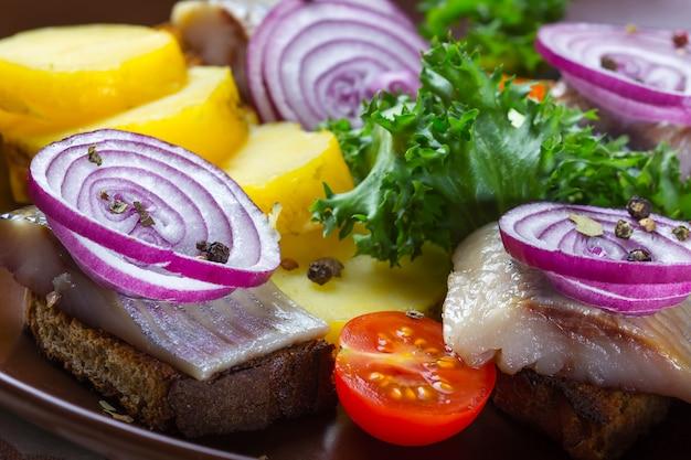 Panini di pane di segale con aringa