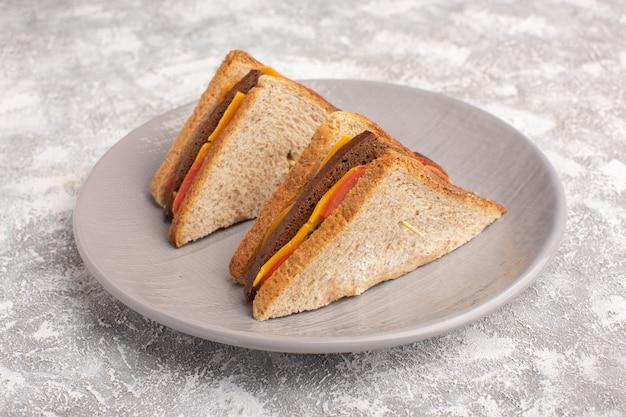 Panini saporiti del pane tostato di vista vicina della parte anteriore con il prosciutto del formaggio dentro la superficie di bianco del piatto