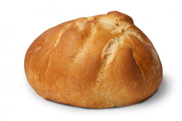 Panino al forno delizioso isolato su bianco.