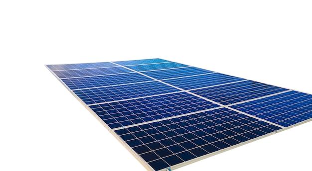Pannelli solari isolati su sfondo bianco. immagini di concetto di energia solare.