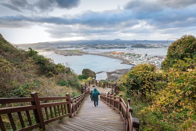 Panorama alto angolo vista montagna picco jeju corea del sud