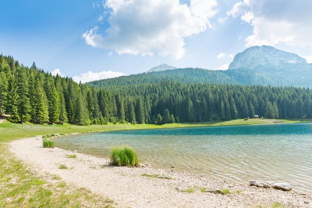 Panorama del lago in montagna