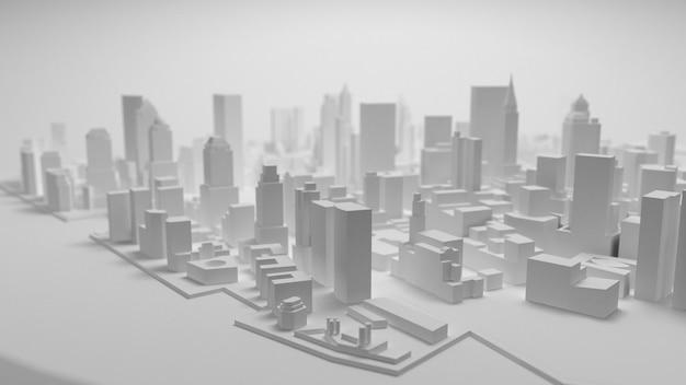 Panorama della città 3d isolato su priorità bassa bianca