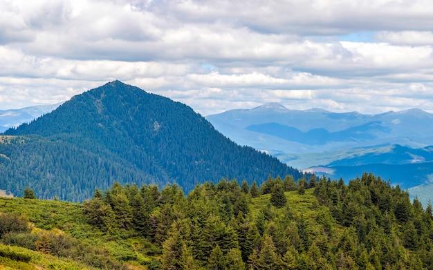 Panorama delle montagne carpatiche nel giorno soleggiato di estate