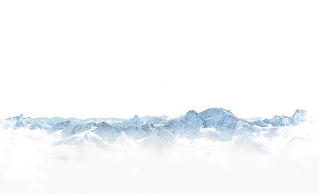 Panorama delle montagne di inverno con neve.