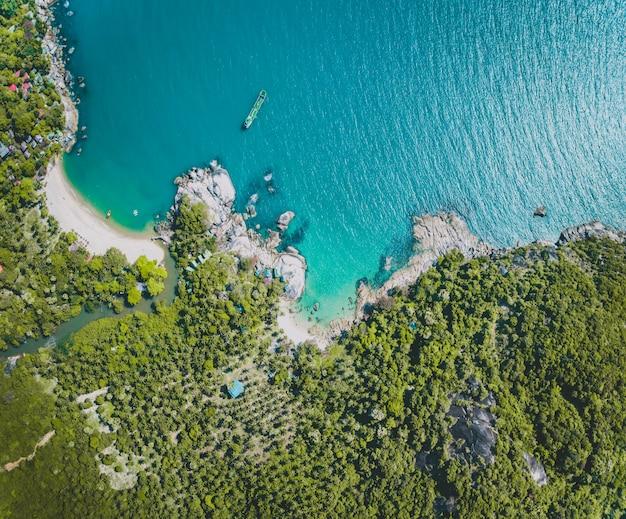 Panoramica sull'oceano, sulla riva e sulla foresta verde. bali.