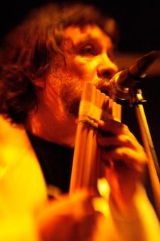 Panpipe performer