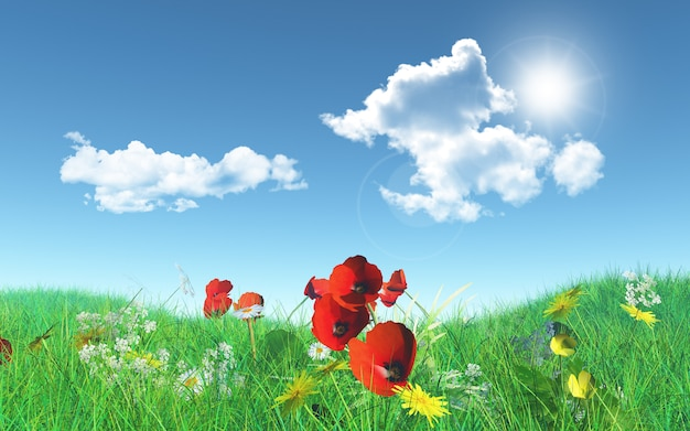 Papaveri 3d in un paesaggio erboso