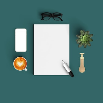 Paper mock up con caffè