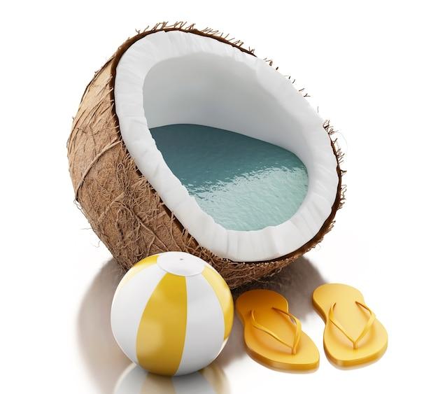 Paradiso della noce di cocco 3d su fondo bianco