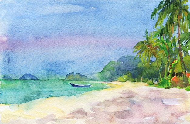 Paradiso tropicale dell'acquerello, vista sul mare. sfondo naturale disegnato a mano