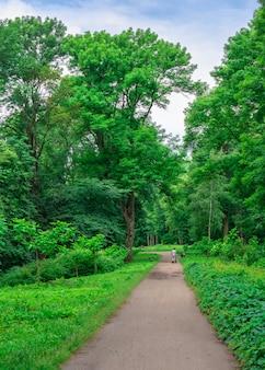 Parco di alessandria a bila cerkva, uno degli arboreti più belli e famosi in ucraina, in una nuvolosa giornata estiva.