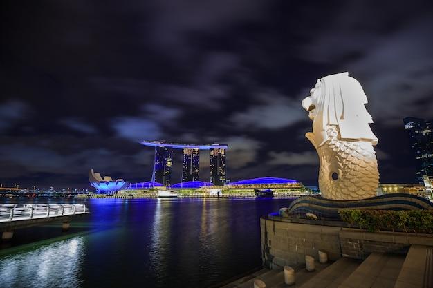 Parco merlion nella città di singapore