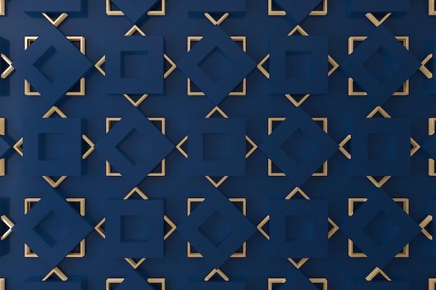 Parete 3d blu e oro per sfondo, sfondo o sfondo