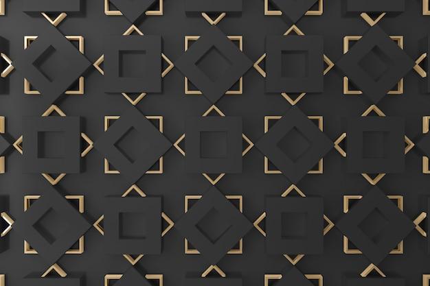 Parete 3d di forma quadrata nera e oro per sfondo, carta da parati o sfondo