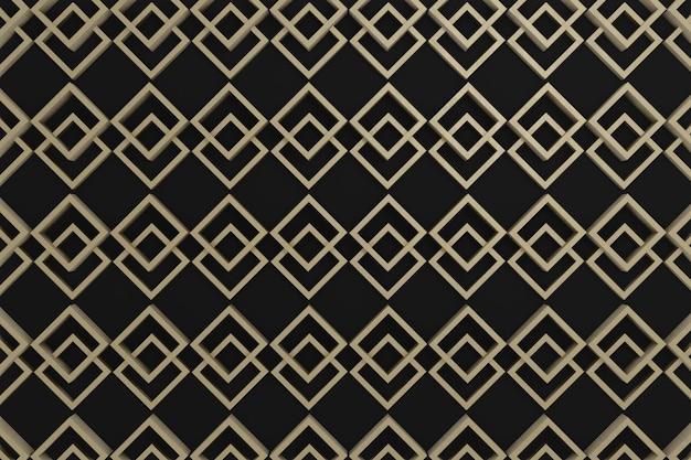 Parete 3d, quadrato 3d di legno grafico su fondo nero per la carta da parati, decorazione della parete o fondo.