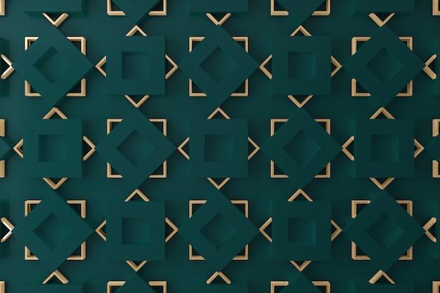 Parete 3d verde scuro e oro per sfondo, sfondo o sfondo