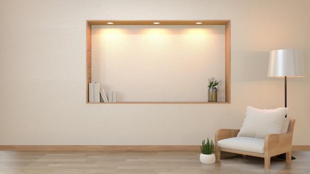 Parete bianca vuota del salone di zen con le luci di progettazione di stile del giappone della decorazione giù sulla parete dello scaffale. rendering 3d