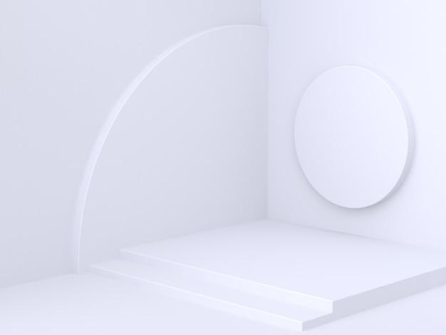 Parete d'angolo astratta minima con il cerchio 3d di forma geometrica che rende fondo bianco
