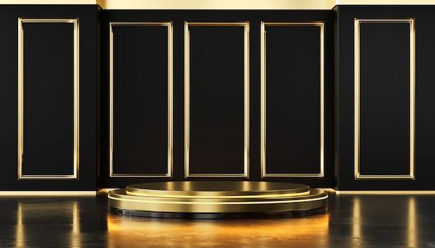 Parete di lusso del modello dell'oro e podio metallico che stanno per i prodotti che pubblicizzano e commerciale, rappresentazione 3d.
