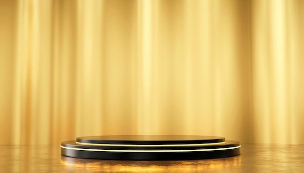 Parete di seta dell'oro e modello diritto del podio metallico per i prodotti pubblicitari e commerciali, rappresentazione 3d.