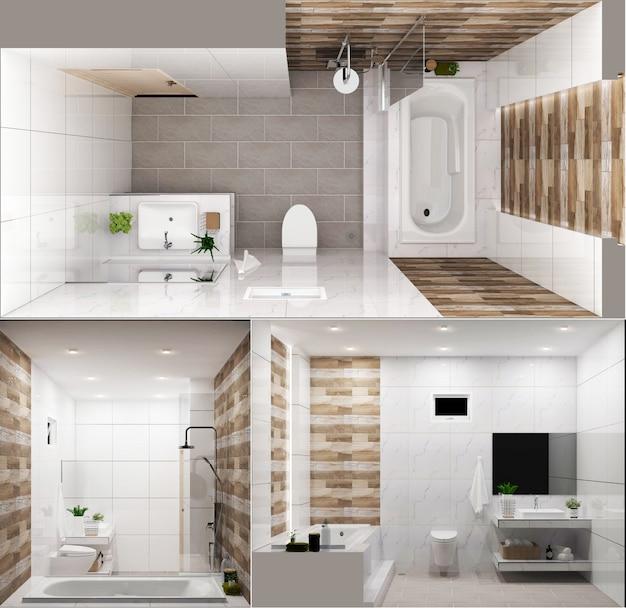 Parete e pavimento di legno del bagno di disegno di zen - stile giapponese. rendering 3d