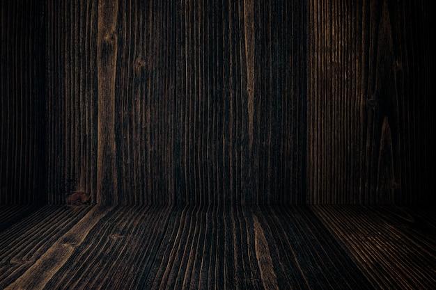 Parete e pavimento di legno scuri del grunge di lerciume. struttura di legno