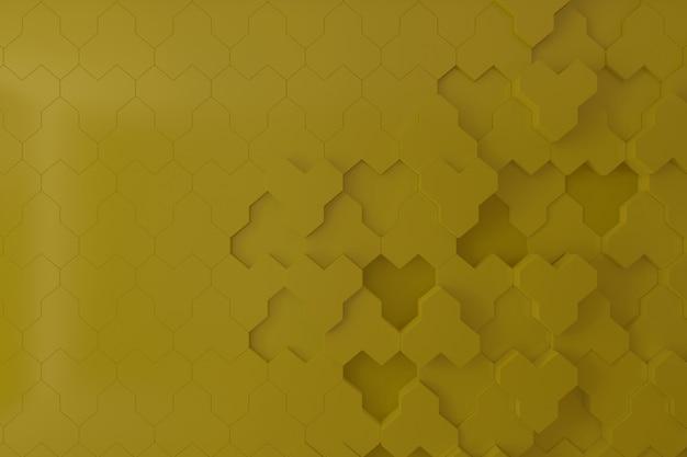 Parete gialla 3d per sfondo, sfondo o sfondo, parete 3d forma alveare.