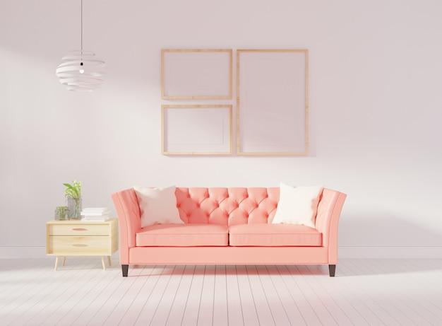 Parete interna del salone mock up con divano trapuntato rosa