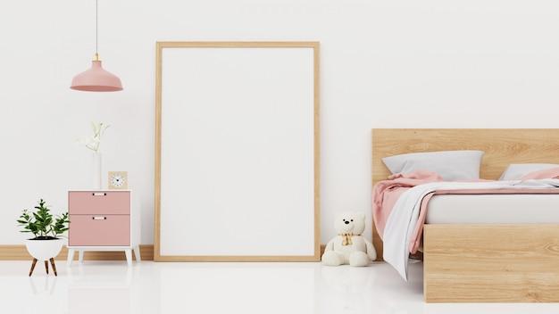 Parete interna della camera da letto con letto sfatto, plaid rosa, piante verdi e lampade sulla parete bianca vuota. rendering 3d