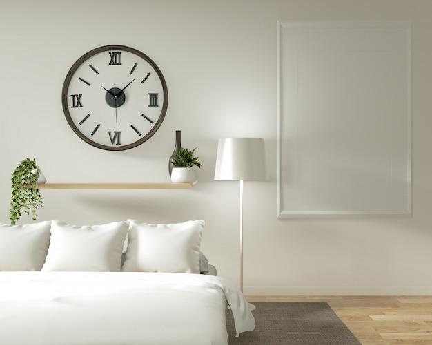 Parete interna domestica mock up con letto in legno, tende e decorazioni in stile giapponese