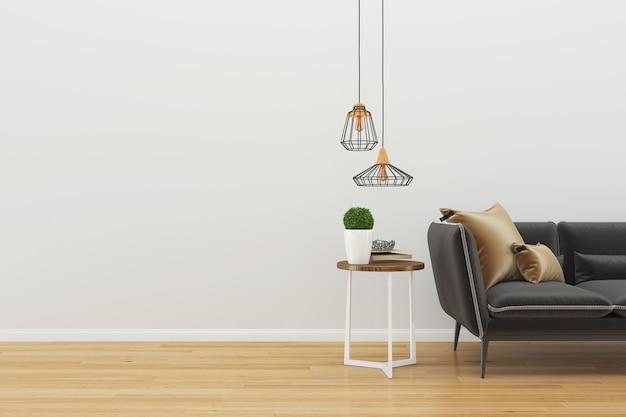 Parete legno pavimento interno divano sedia lampada interno 3d soggiorno