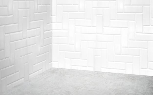 Parete moderna bianca d'angolo vuota della stanza e stanza di prospettiva grigia del pavimento di calcestruzzo
