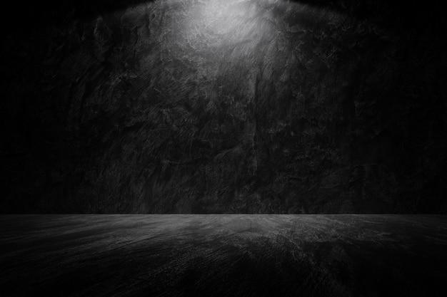 Parete scura di vecchio lerciume con il fondo grigio chiaro di struttura del pavimento della parete del cemento grigio chiaro di ies