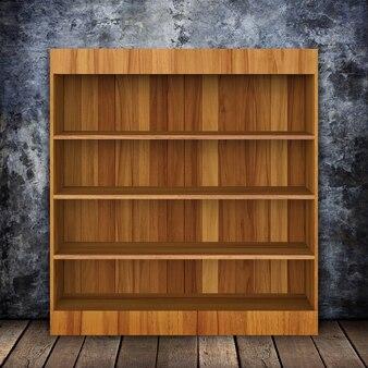 Parete sgangherata con mensola in legno e legno vecchio