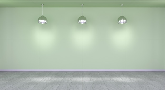 Parete vuota in museo con la rappresentazione delle luci 3d