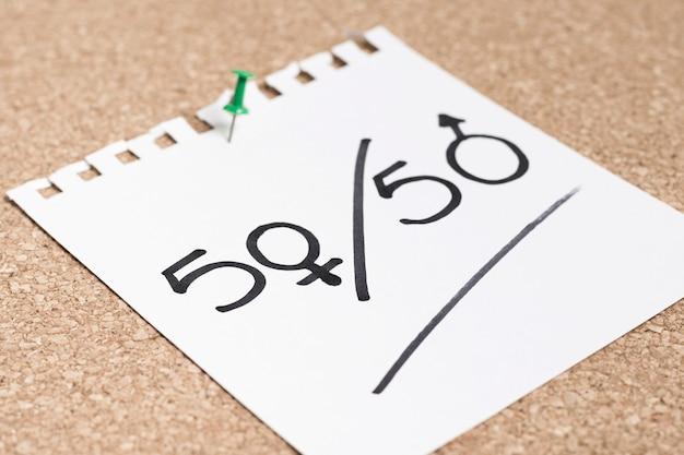 Pari percentuale scritta su un pezzo di carta per i sessi