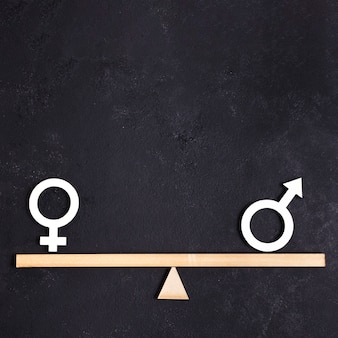 Parità tra simboli di genere femminile e maschile sull'altalena