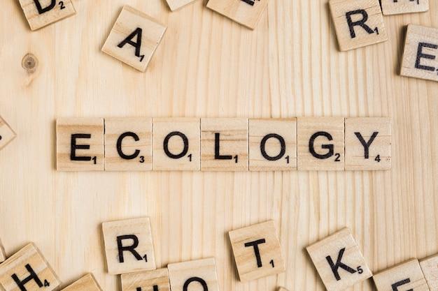 Parola di ecologia su piastrelle di legno