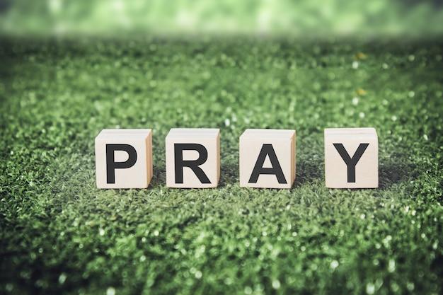 Parola pray fatta da cubi o blocchi sullo sfondo di erba.