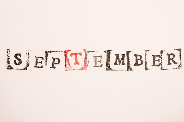 Parola settembre fatta con timbratura