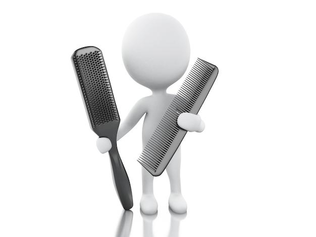 Parrucchiere 3d con pettine e spazzola per capelli.